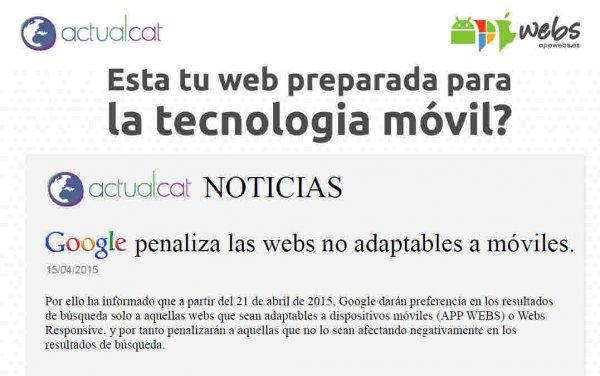 Google cambia el Algoritmo y elimina las webs no compatibles con moviles.