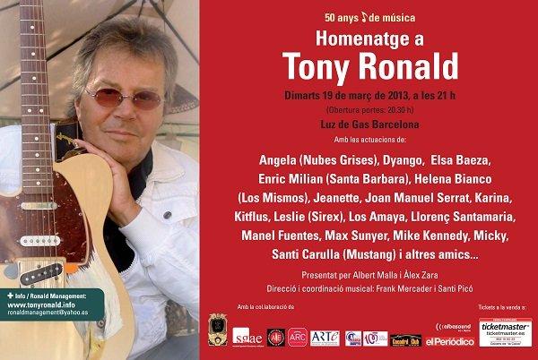 CONCIERTO-HOMENAJE TONY RONALD , Sala LUZ DE GAS, Barcelona.