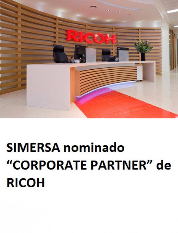 """SIMERSA nominat """"CORPORATE PARTNER"""" de RICOH"""